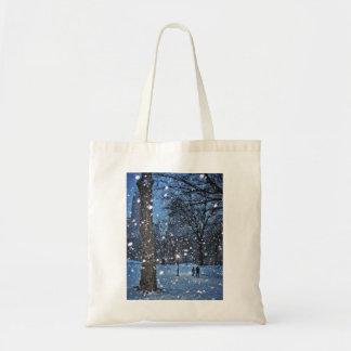 A Nighttime Walk Through Winter Snow Tote Bag