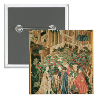 A Nobleman Greeting a Lady with his Servants 2 Inch Square Button