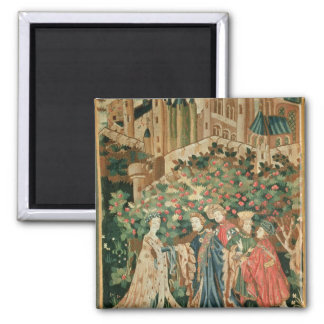A Nobleman Greeting a Lady with his Servants 2 Inch Square Magnet