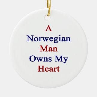 A Norwegian Man Owns My Heart Ceramic Ornament