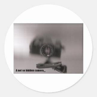 A not so hidden camera classic round sticker