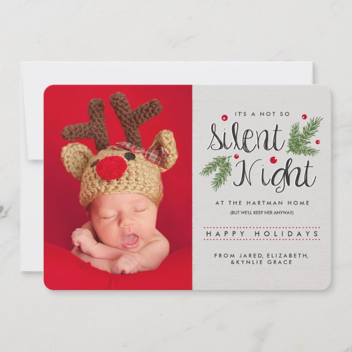 A Not So Silent Night New Baby Rustic Photo Holiday Card Zazzle Com