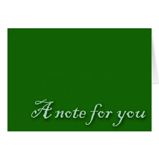 A Note For You Green Greeting Card