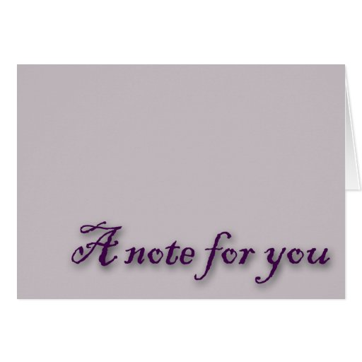A Note For You Purple Gray Greeting Card