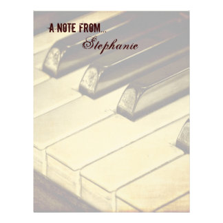 A Note From...Piano Keys Stationery Letterhead
