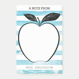 A Note From Teacher Apple & Watercolor Stripes