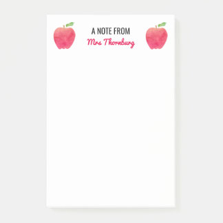 A Note From Teacher Personalized Red Apples