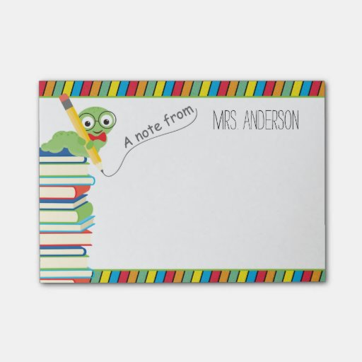 A Note From Teacher with a Bookworm Post-it(r) Notes