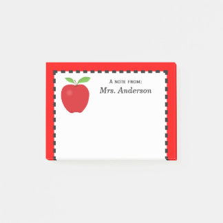 A Note From Teacher with Red Apple