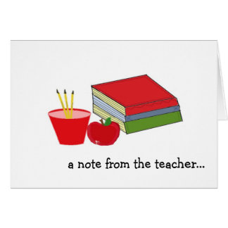 A Note From The Teacher Card