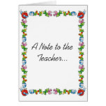 A Note to the Teacher... Card