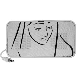 A nun wearing a veil with eyes closed portable speaker