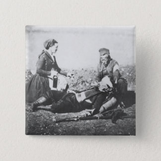 A Nurse Tending a Wounded Man Pinback Button