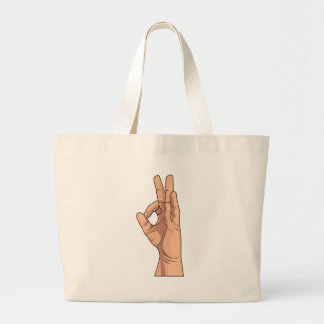 A OK ~ Hand Sign and Gestures a-ok Large Tote Bag