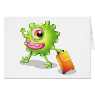 A one-eyed green monster moving greeting card