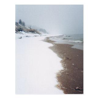 A orillas del lago un invierno postal