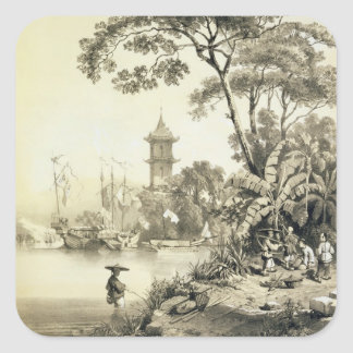 A Pagoda on the Macao-Canton Canal, plate 21 from Square Sticker