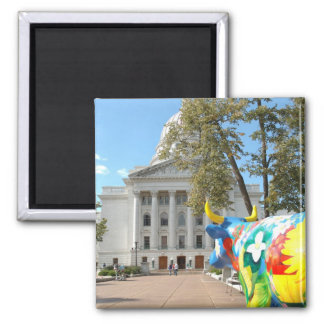 A Painted Cow Admires the Capital Building 2 Inch Square Magnet