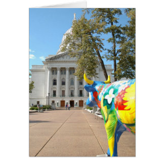 A Painted Cow Admires the Capitol Building Card