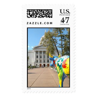 A Painted Cow Admires the Capitol Building Postage
