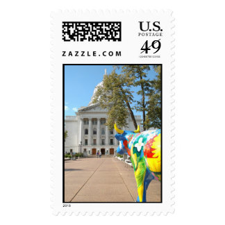 A Painted Cow Admires the Capitol Building Stamp