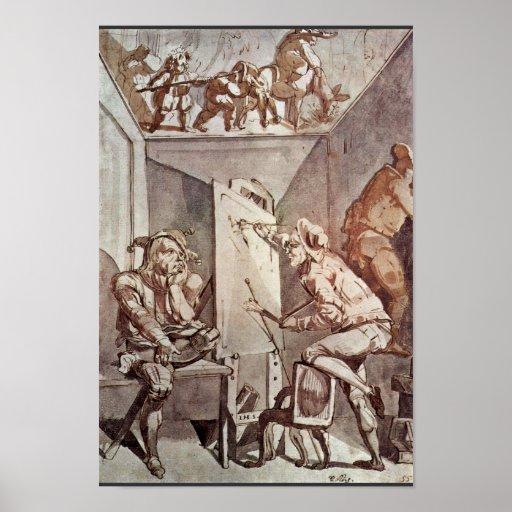 A Painter Draws A Fool With Glasses By Füssli Joha Poster