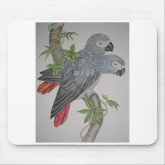 A Pair of African Grey Parrots watercolor painting Mouse Pad