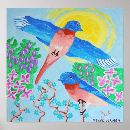 A Pair of Bluebirds Poster