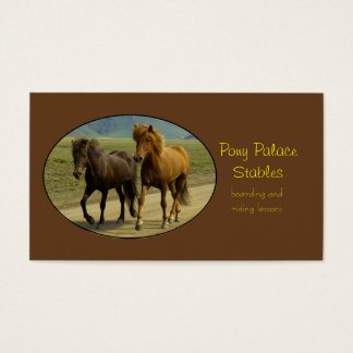 A Pair of Brown Icelandic Ponies Business Card