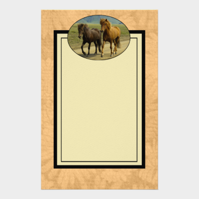A Pair of Brown Icelandic Ponies Stationery