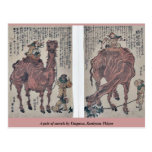 A pair of camels by Utagawa, Kuniyasu Ukiyoe Post Card