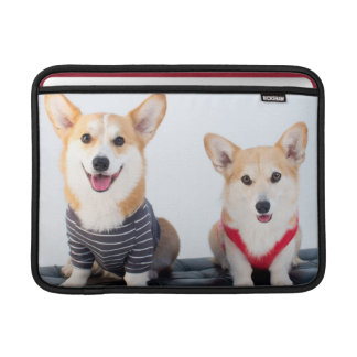 A Pair Of Corgis Sitting On A Bench MacBook Air Sleeve
