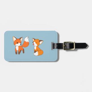 A Pair of Cute Little Fox on Blue Bag Tag