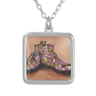 A Pair of Favourite Floral Boots Silver Plated Necklace