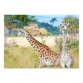 A Pair of Giraffes in the Mikumi National Park 5x7 Paper Invitation Card