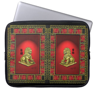 A Pair of Golden Foo Dogs on Red Laptop Sleeve