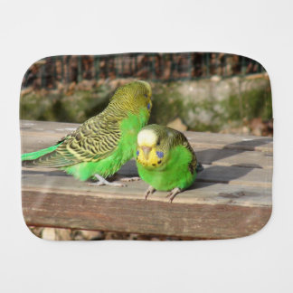 A Pair of Green Budgies on a wooden bench Burp Cloth