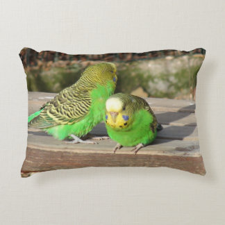 A Pair of Green Budgies on a wooden bench Accent Pillow