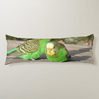 A Pair of Green Budgies on a wooden bench Body Pillow