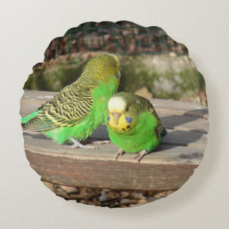 A Pair of Green Budgies on a wooden bench Round Pillow
