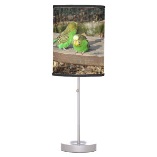 A Pair of Green Budgies on a wooden bench Table Lamp