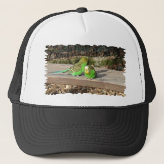 A Pair of Green Budgies on a wooden bench Trucker Hat