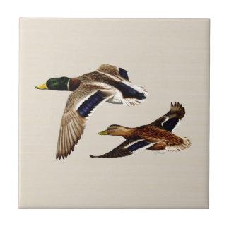 A Pair of Mallard Ducks Ceramic Tile