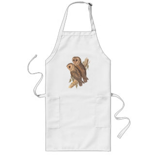A Pair of Masked Barn Owls on a branch (painting). Apron