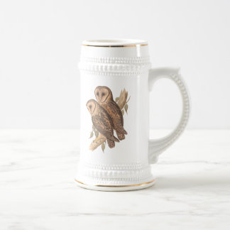 A Pair of Masked Barn Owls on a branch (painting). Beer Stein