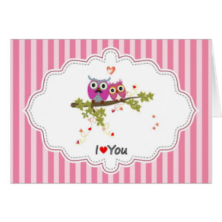 A Pair Of Owls In Love On A Branch, Note Card
