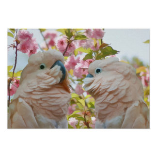A Pair of Parrots and Crab Apple Blossoms Poster