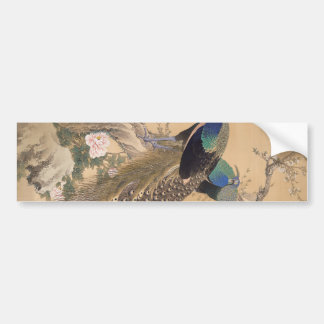 A Pair of Peacocks in Spring by Imao Keinen Bumper Sticker