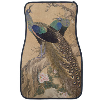 A Pair of Peacocks in Spring by Imao Keinen Car Floor Mat