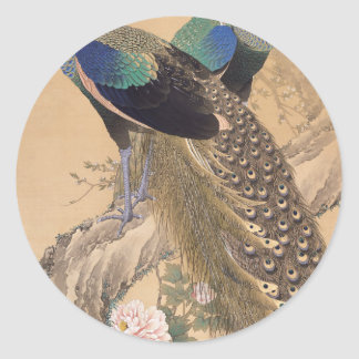 A Pair of Peacocks in Spring by Imao Keinen Classic Round Sticker